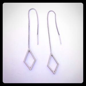 Jewelry - Drop earrings silver with tiny faux pave diamonds